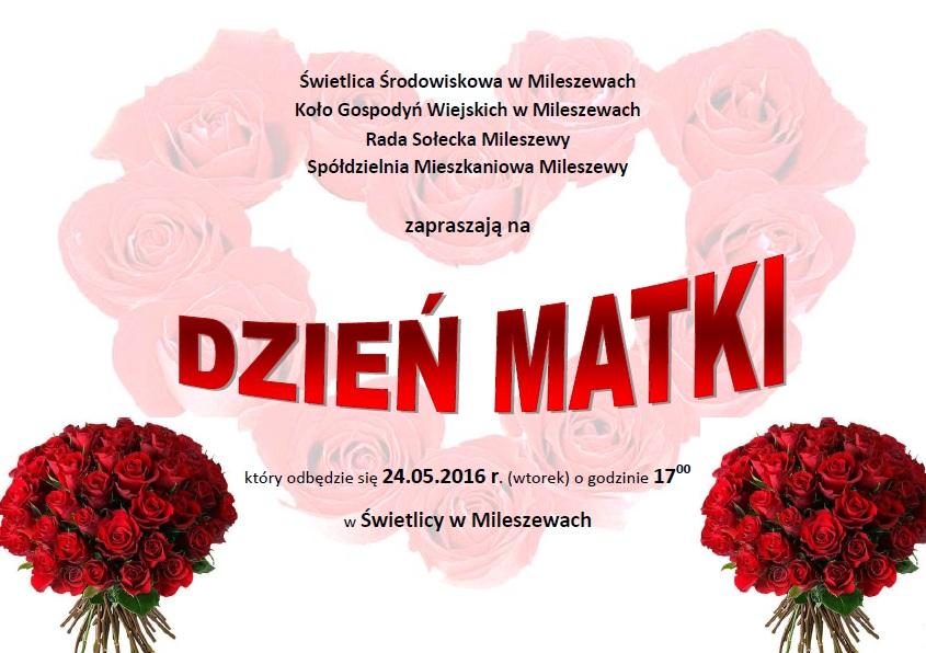 Zaproszenie Na Dzien Matki W Mileszewach
