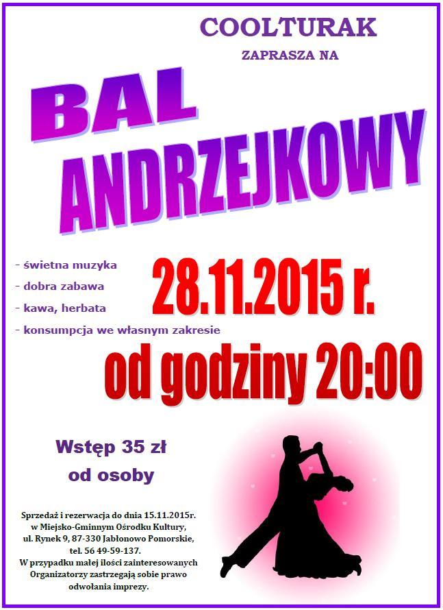 Zaproszenie Na Bal Andrzejkowy Wydarzenia Ogłoszenia Jabłonowo